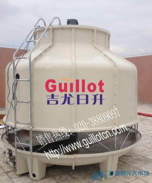 吉尤日升 200t低噪音逆流圆形玻璃钢水轮机冷却塔