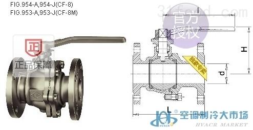 台湾ring东光fig.954-a不锈钢两片式法兰球阀图片