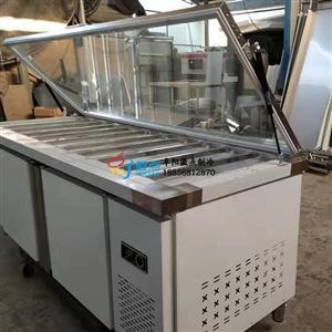 徽点前掀玻璃盖沙拉台芜湖2.4直冷不锈钢水果捞保鲜柜