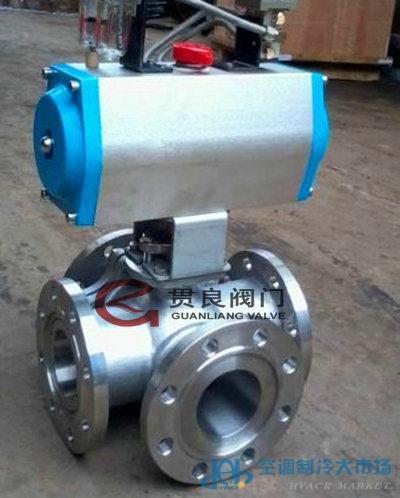 气动螺纹四通球阀Q616F,气动球阀