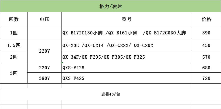 格力2P压缩机QX-F325F050g