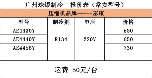 泰康AE4456Y壓縮機  R134a制冷劑