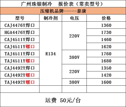泰康CAJ4492Y压缩机  R134a制冷剂