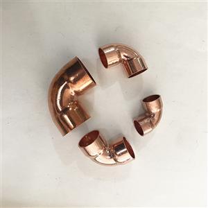 90度紫铜焊接铜管弯脖承口扩口铜曲接头加厚铜管弯头16