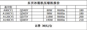 东贝高效型A80CY1压缩机  R600a制冷剂