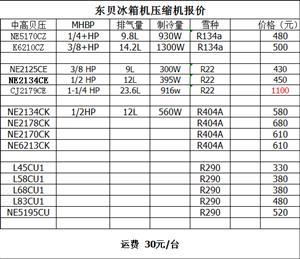 东贝L58CU1压缩机  R290制冷剂